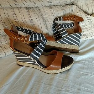 Sperry Topsider Striped Espadrilles Wedges 7.5
